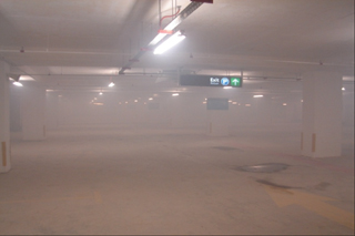 JetVent carpark running for +5 min; 12m visibility